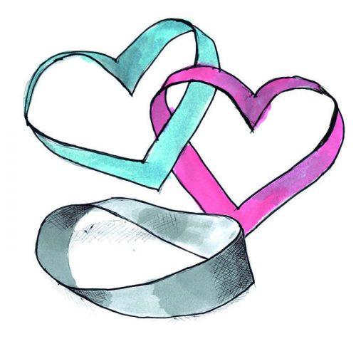 lav to hjerter med et Möbius bånd sjov familie aktivitet med læring og kreativitet