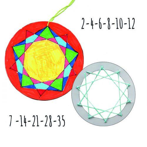Matematiske Mandalas matematisk string art lavet ud fra tabeller og talmønstre